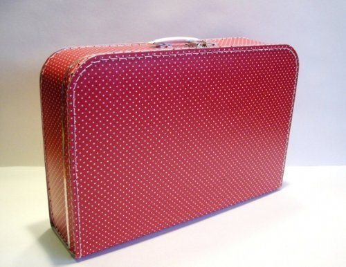 Koffer Pappe, rot + kleine weiße Punkte, groß, 45cm, Pappkoffer