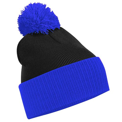 Beechfield - Berretto Invernale Bicolore - Unisex (Taglia unica) (Nero/Blu brillante)