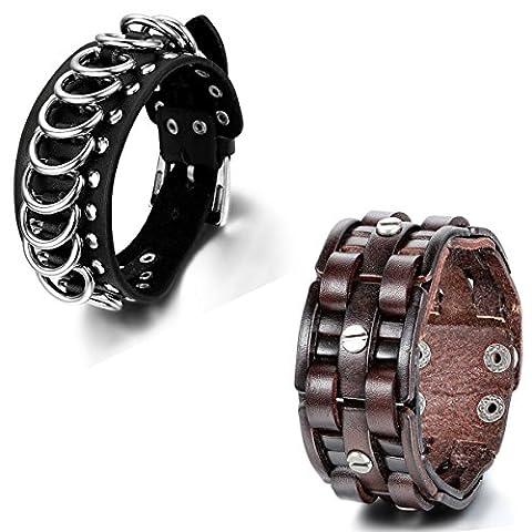Aroncent 2PCS Herren Damen Armband, Retro Punk Rock Personalisiert Ring Kreuz Link Niete Buckle Snap Breit Armband Armreif, Leder Legierung, Schwarz Braun