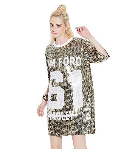 d1566954a Bmeigo Mini Vestido de Las Mujeres Camisetas con Lentejuelas Manga 3/4  Blusas largas holgadas Patrón de Letras para Pub Informal Fiesta