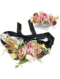 Ever Fairy moda flor cinturones de flores Conjunto de peine de pelo para mujer niña dama de honor vestido de satén cinturón boda fajas cinturón de la pluma tela elástica cinturón accesorios