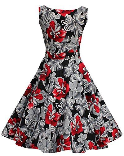 50S Vintage Hepburn Sans Manches Des Années 1950 Beach Femme à Motif à Fleurs Pin Up Rockabilly Battantes Robes Rouge
