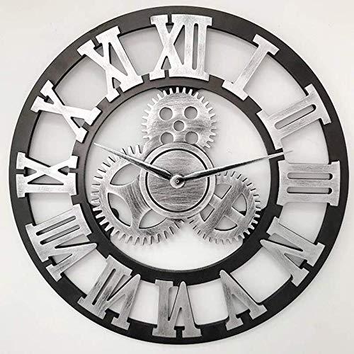 Clockzsq moderno elegante elegante silenzioso silenzioso tondo orologio da parete in metallo semplice orologio da parete creativo per soggiorno camere da letto ufficio cucineingranaggi vintage 45cm d