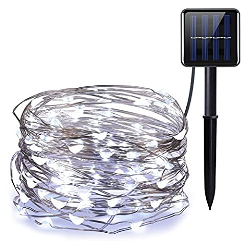 AMIR Solar Powered String Lights, 100 LED Starry Fairy Lights, 10 Meters, Waterproof 1.2 V Portable with Light Sensor for Easter, for Garden, Home, Wedding, Party