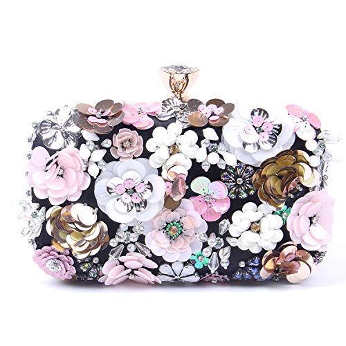 Reinigen, Satin-handtasche (Jywmsc Damen Clutches Blume Abendtasche Handtasche Hochzeit Clutch Party Tasche)