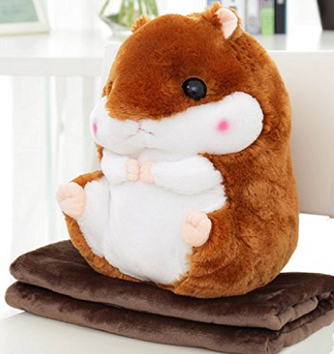 2 in 1 Cute Baby Hamster Wurfkissen Mit Decke Kinder Tiere Stoffpuppen Weichem Plüsch Sofa Auto Rückenkissen (Dunkelbraun, L)