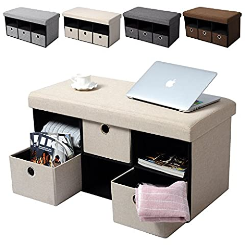 WOLTU® Storage Ottoman Bench with Detachable Lid Linen Fabric Folding Foot Stool Pouffe Seat Box Cube Space-saving, 3 Drawers, Max Load 300KG, Cream,