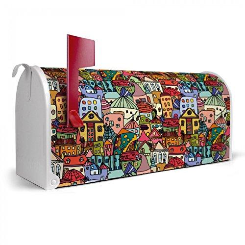 BANJADO US Mailbox | Amerikanischer Briefkasten 51x22x17cm | Letterbox Stahl weiß | mit Motiv Funky Town, Briefkasten:ohne Standfuß