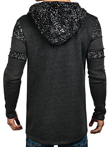 BOLF Herren Kapuzenpullover Langarmshirt Pullover Kapuze Pulli Men 1A1 Motiv Anthrazit