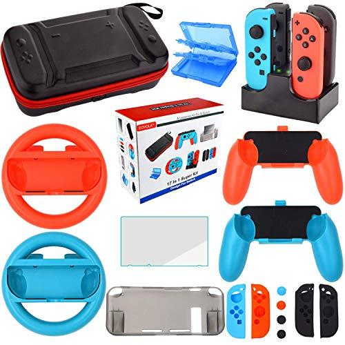 Nintendo Switch Zubehör Set - Tragetasche Hülle Displayschutzfolie für Nintendo Switch konsole - Tasche für Spiele - Lenkrad Griff Silikon Schutzhülle Ladestation für Joy-Con Controller (17 in 1) Sd-starter