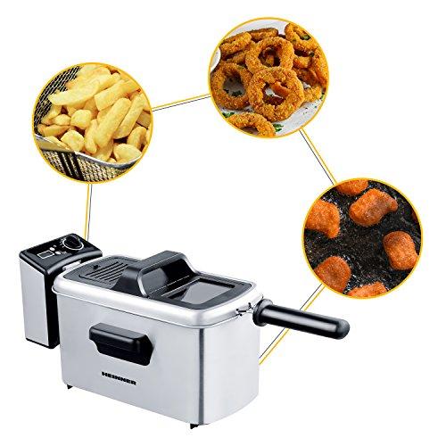 heinner friggitrice–Premium Olio di filtrazione cestello in acciaio inox Friggitrice 3L per patatine fritte, Frittura Pesce, anelli di cipolla, Chicken Nuggets–Controllo della temperatura & Timing