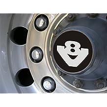 Juego de 2 tapacubos V8 de aluminio oxidado grabado para todos los camiones, accesorio de