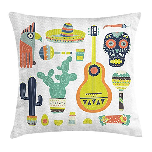 BUZRL Fiesta Throw Pillow Cushion Cover, Symbols from Mexico Guitar Face Aztec Mask Tequila Skull Musical Instruments Taco, Decorative Square Accent Pillow Case, 18 X 18 Inches