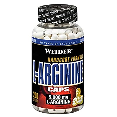 L-Arginine Caps - 200 caps booster nitric oxide power energy strength muscle growth by Weider M from Weider