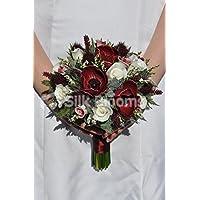 Scottish Inspired Borgogna Anemone e rose piccolo bouquet da sposa con cardi - Anemone Bouquet Da Sposa