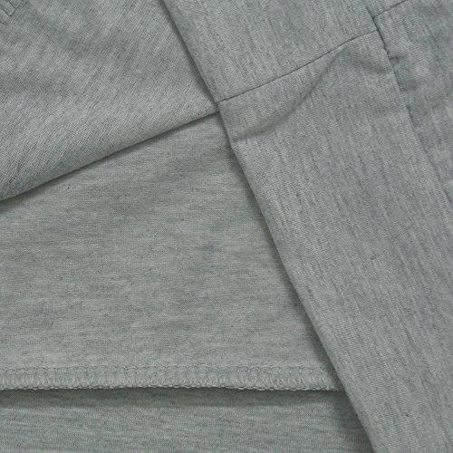 Aoweite Frauen aus der Schulter Kurzarm T-Shirt Rundhals Feder Druck Tops Grau