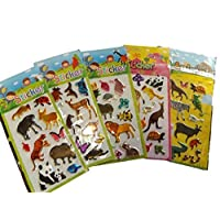 5 x small sheets of zoo animals lions zebra panda Stickers for girls kids boys, craft, scrap books, card making, gift party bags