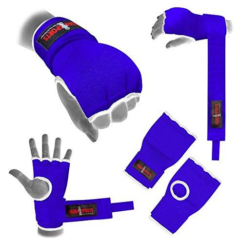 Handbandagen in Schwarz, Blau, Rot, und gepolsterte Gel-Handschuhe, Boxen, MMA, UFC , blau, small/kids 9-12yrs (Ufc Gel Wrap)