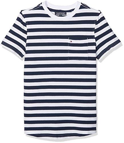 Tommy hilfiger ame bright pique stripe cn knit s/s, t-shirt bambino, nero (black iris 002), 104