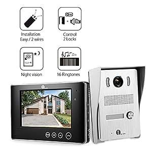 1byone Visiophone 7 Pouces Vidéo avec Fil Couleur, 2 Câbles Systèmes Interphones avec 1 Sonnette d'Extérieure Visuelle 90° et 1 Moniteur Ecran Vidéo HD Vision Nocturne IR pour Surveillance