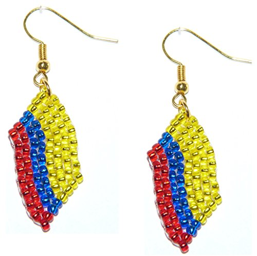 Orecchini della bandiera, Colombia, con perline - Lavoro fatto a mano di gioielleria con perline