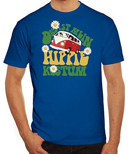 Fasching Karneval Herren T-Shirt mit Das ist mein Hippie Kostüm Motiv von ShirtStreet, Größe: XL,royal blau