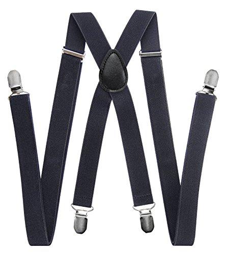 axy Hochwertige Herren Hosenträger breit 2,5 cm mit 4 Starken Clips X-Form und Damen (Dunkelgrau)