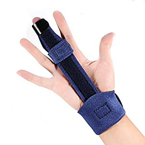 Doact Einstellbare Trigger Finger Schiene für Finger Steifigkeit mit extra Haken & Loop Tape Fit alle Finger, Klick & Popping Schmerzlinderung von Stenose Tenosynovitis, Schwarz, One Size