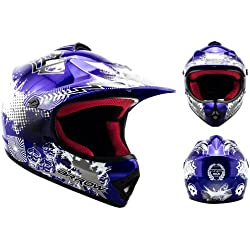 ARROW AKC-49 Blue Casco Moto-Cross MX Pocket-Bike Scooter Racing Motocicleta NINOS Junior Helmet Cross-Bike Off-Road Sport Kids Quad Enduro, DOT Certificado, Incluyendo Bolsa de Casco , Azul, L (57-58cm)