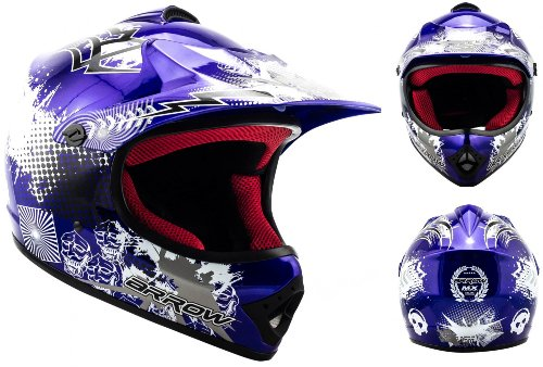 Armor · AKC-49 'Blue' (blue) · Casco Moto-Cross · Scooter Off-Road Racing Bambino Motocicletta Quad · DOT certificato · Click-n-SecureTM Clip · Borsa per il trasporto · M (55-56cm)