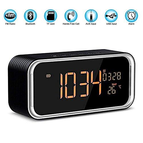 Portable Bluetooth Lautsprecher, 4.2 Wireless Bluetooth Lautsprecher mit einer Taste Freisprecheinrichtung, FM-Radio-Funktion und Wireless-Lautsprecher mit Uhrzeit, Datum, Temperatur, Doppel-Wecker , Schwarz