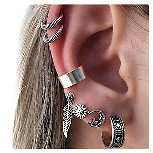 DAY.LIN Damen Ohrringe Schmuck Ohrstecker stecker Böhmen Frauen Retro Silber Ohrclip Stud baumeln Ohrringe Set Modeschmuck (Silber)