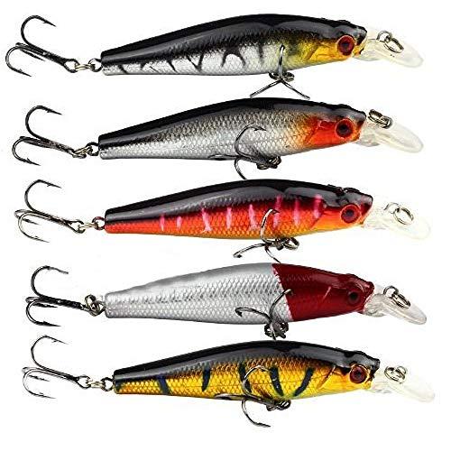 Zonster Acefast INC 5pcs Fischen Bass Köder Tauchen Crankbait Minnow Drillinge Köder 8.8g 8cm (Acefast Inc)