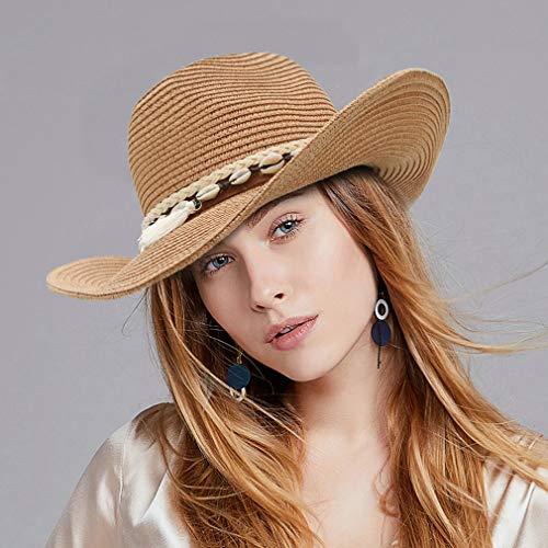 DEMU Damen Sommer Sonnenhut Sonnenschutz Panama Cowboy Fedora Hut Strohhut Strandhut
