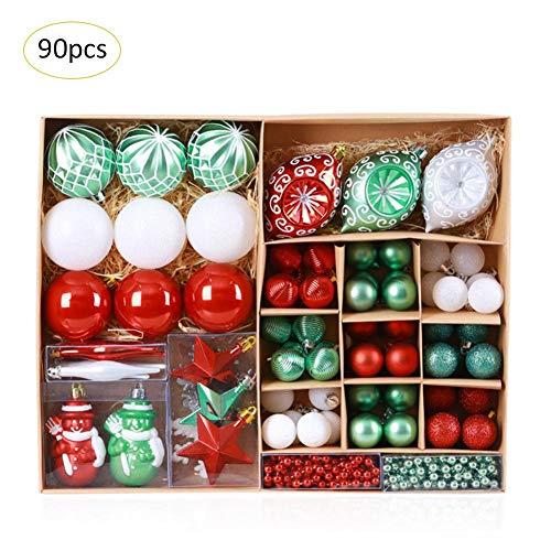 Xiamu pallina per albero di natale ornamento pallina stella, 90 pezzi, classico rosso e verde a tema, confezione multipla assortita di decorazioni per albero di natale topper