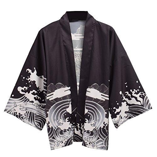 Drachen Kimono (GRACEART Damen Kimono Schwarz schwarz Einheitsgröße)