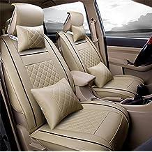 RUIRUI Cuscino coprisedile per auto in pelle universale PU Set completo anteriore posteriore per 5 posti , Beige , S