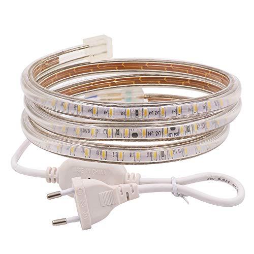 XUNATA 3m 220V Tiras LED, SMD 3014 120LEDs/m, IP67 Impermeable, Escalera de Techo Blancas Tira de LED...