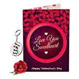 #6: Sky Trends Valentine Gift For Friend Lovely Greeting Card Keychain With Artificial Rose Best Gift For Friend