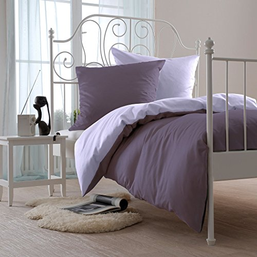Bettwaren-Shop Uni Mako-Satin Wende-Bettwäsche lavendel/malve Bettbezug einzeln 135x200 cm