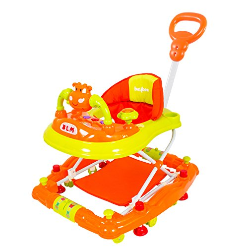 Baybee Forza Baby Walker Cum Rocker | Music & Light Function with Control Push Bar, Stopper, Easy to Fold, Fun Toys & Activities for Baby (Orange)