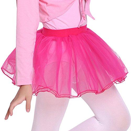 (DREAMOWL Mädchen Plissee Tutu Röcke für Ballett-Tanz Erwachsene Kleid-Kostüme klein rose red)