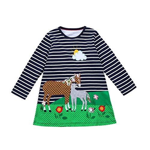 dlich Tier Drucken Langarm T-shirt Kleid (Navy, 6T-140) (Navy Kinder Brautjungfer Kleider)
