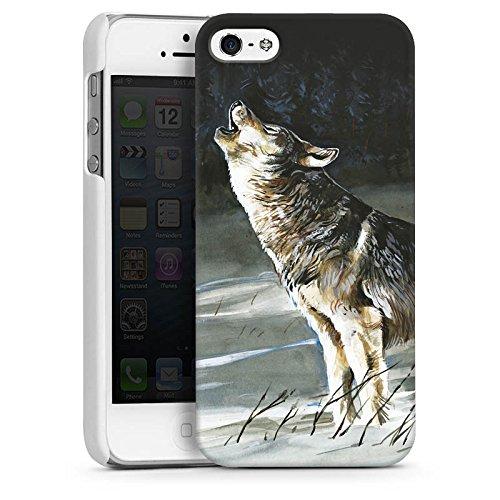 Apple iPhone 4 Housse Étui Silicone Coque Protection Loup Neige Nature CasDur blanc