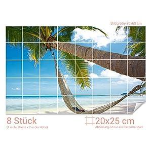 GRAZDesign Bad Fliesen Aufkleber Palme - Fliesendekor Bad Strand - Fliesenfolie Badezimmer Urlaub - Fliesenaufkleber Paradies/Fliesenmaß: 20x25cm (BxH) / 761006_20x25_60