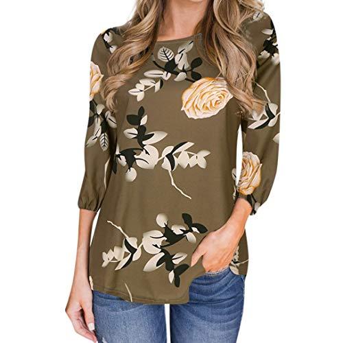 einhorn fleisch AmazingDays Damen Bluse Langarm Blumen Oberteile Elegant Zum KnöPfen Tops T-Shirt Casual Locker Pullover Frauen Sweatshirt (Mehrfarbig, S)