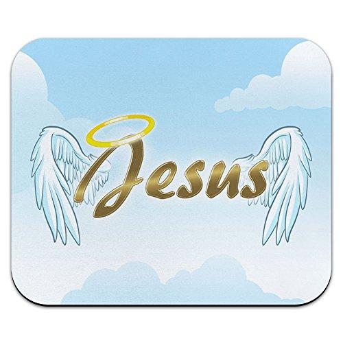 Jesus mit Halo und Engel Flügel–Religiöse Christentum Mauspad (Flügel Halo)