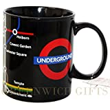 Negro taza de mapa del metro de Londres