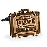 Fashionalarm Schlüsselanhänger Therapie - Australien aus Holz mit Gravur | Geschenk-Idee Spruch...