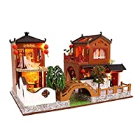fervortop DIY Mini Dolls House Kits With Chinese Traditional Style Handmade Architectural DIY Cottage House Model, For Kids